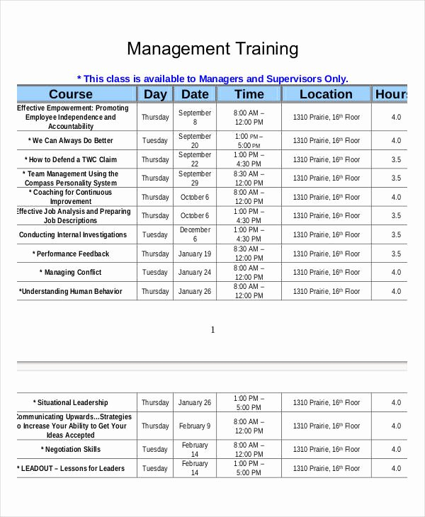 Employee Training Plan Template Unique Employee Training Schedule Template 15 Free Word Pdf
