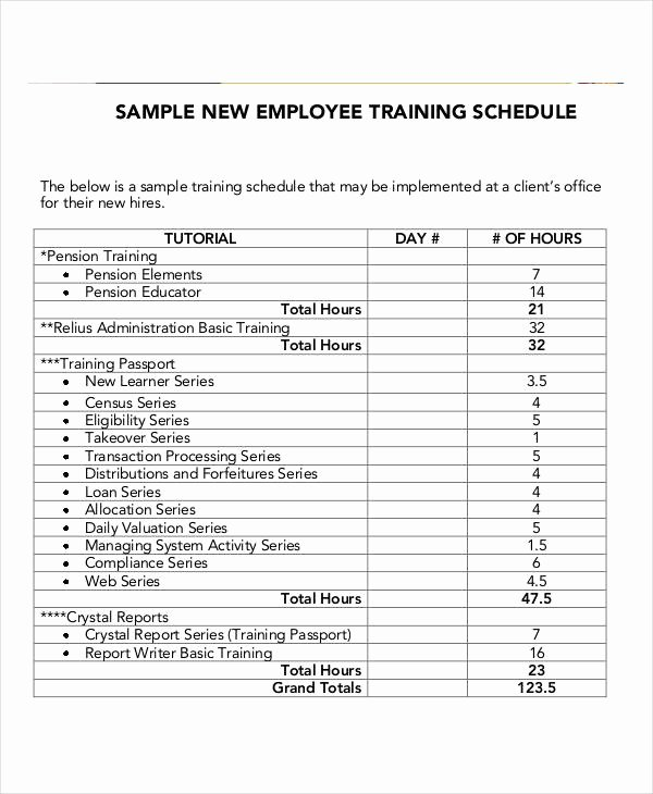 Employee Training Plan Template Word Awesome Employee Training Schedule Template 15 Free Word Pdf