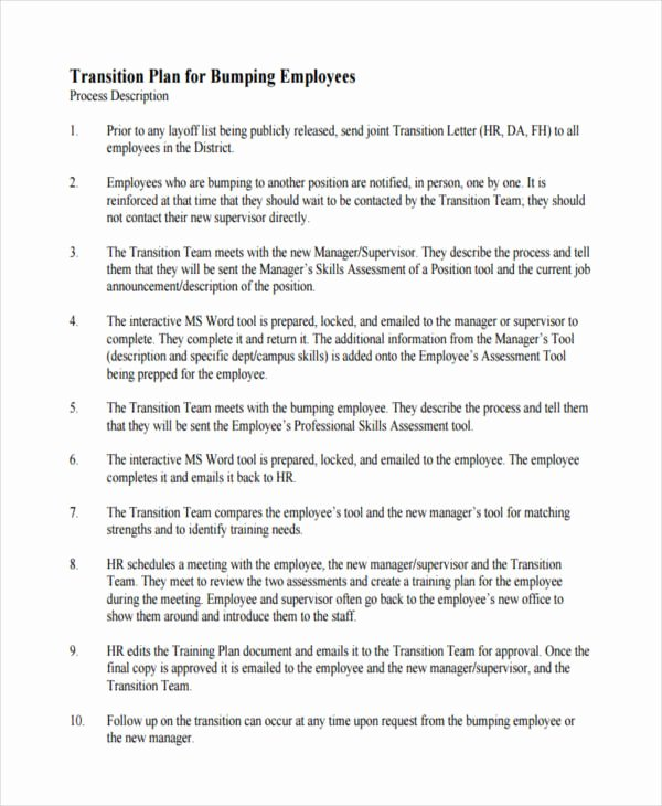 Employee Transition Plan Template Beautiful 10 Transition Plan Examples Samples
