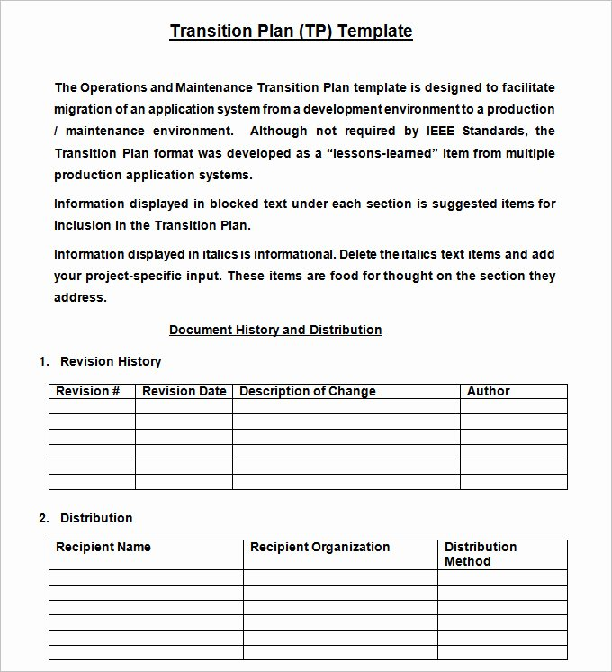 Employee Transition Plan Template Beautiful Transition Plan Template Free Word Excel Pdf Documents