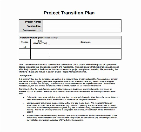 Employee Transition Plan Template Lovely 9 Sample Transition Plans – Pdf Word Pages