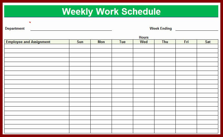 Employee Work Plan Template Beautiful Blank Employee Schedule