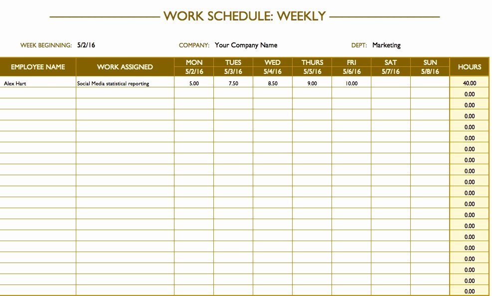 Employee Work Plan Template Elegant Free Work Schedule Templates for Word and Excel