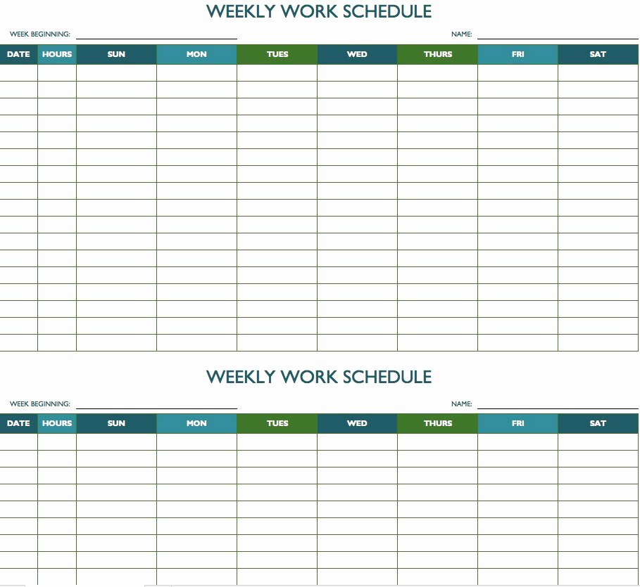 Employee Work Plan Template Fresh Free Weekly Schedule Templates for Excel Smartsheet