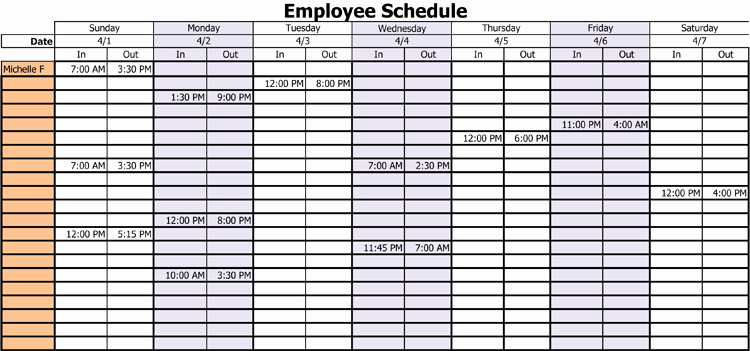 Employee Work Plan Template Luxury 3 Professional Work Schedule Templates for Employees