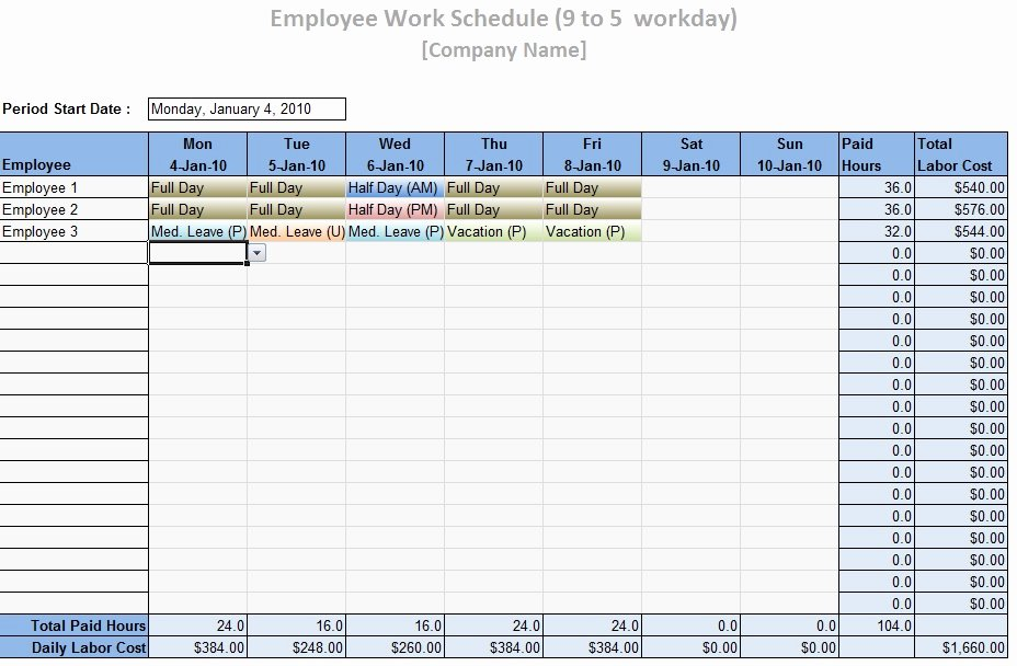 Employee Work Plan Template Unique Employee Work Schedule Template Word Excel