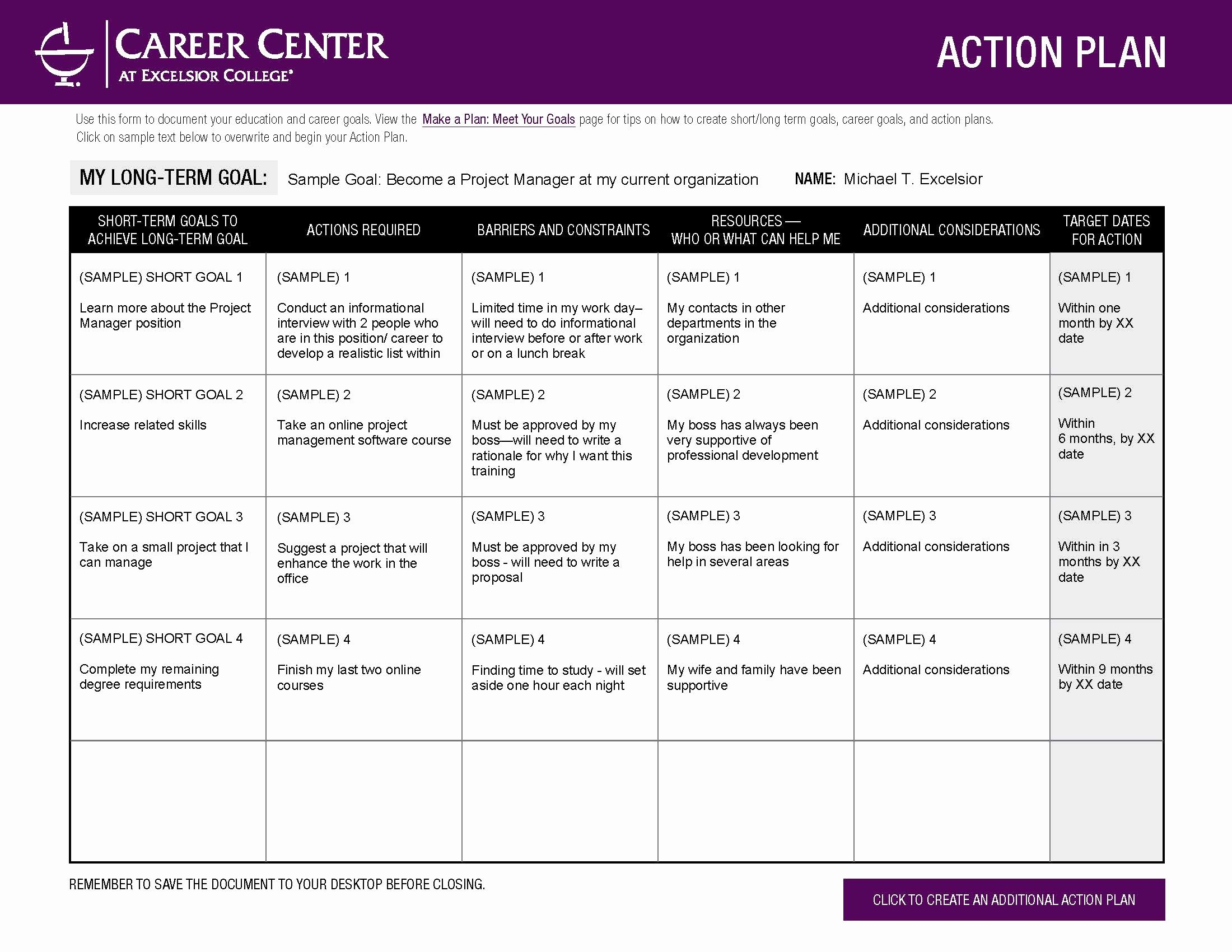 Employment Action Plan Template Luxury Excelsior College Make A Plan – Meet Your Goals