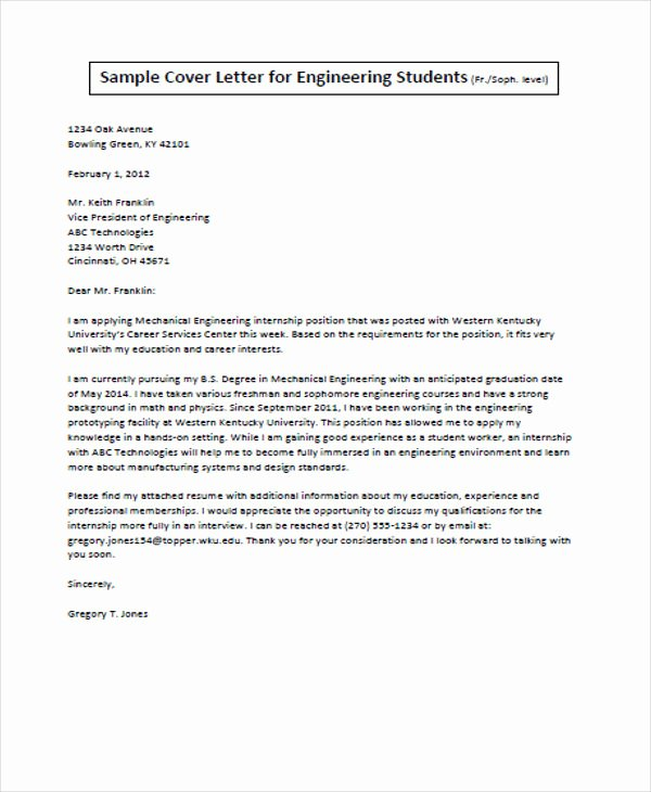 Engineer Cover Letter format Elegant Job Application Letter for Engineer 11 Free Word Pdf