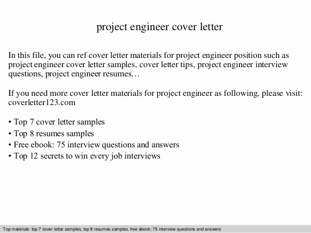 Engineer Cover Letter format Elegant Project Engineer Cover Letter