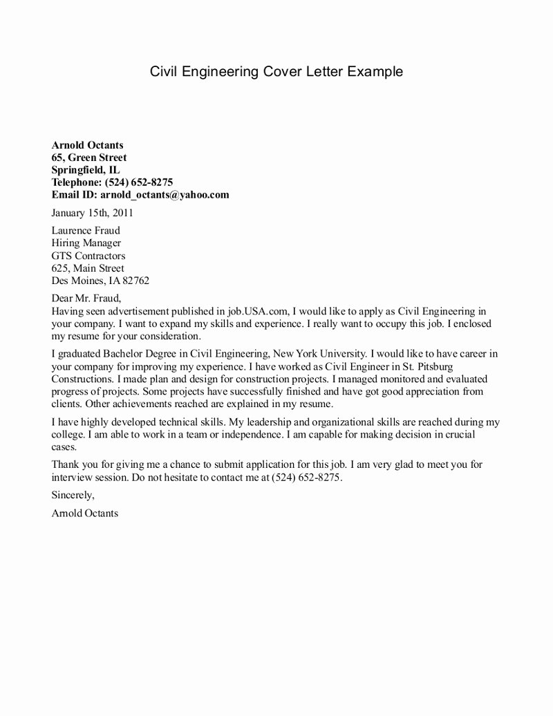 Engineer Cover Letter format Lovely Civil Engineer Cover Letter Example