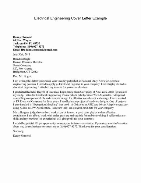 Engineer Cover Letter format Lovely Electrical Engineer Cover Letter