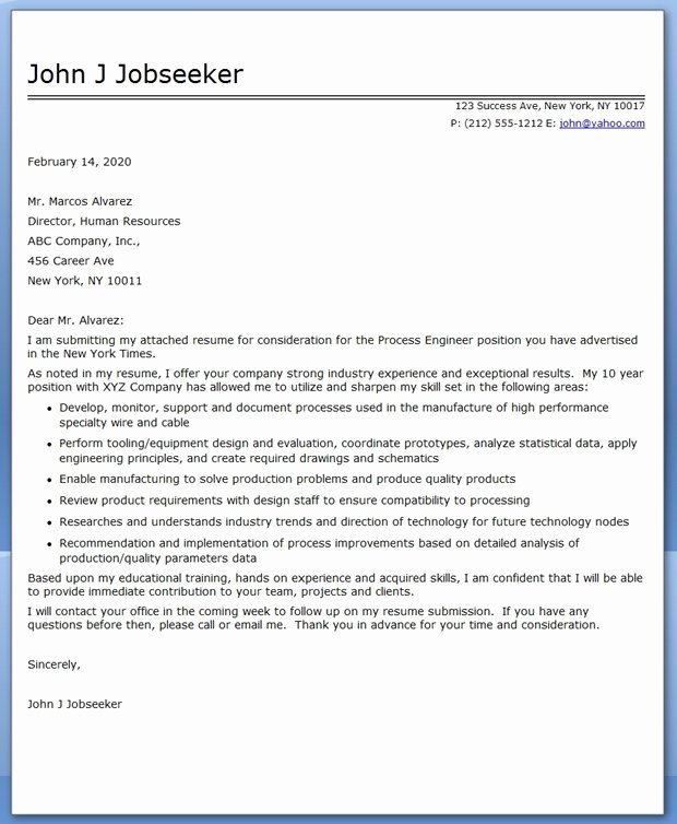 Engineering Cover Letter format Awesome Process Engineering Cover Letter