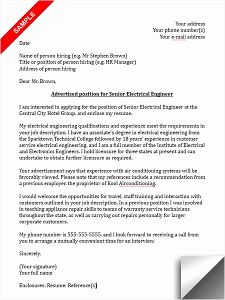 Engineering Cover Letter format Best Of Electrical Engineer Cover Letter Sample