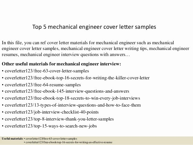 Engineering Cover Letter format Best Of top 5 Mechanical Engineer Cover Letter Samples