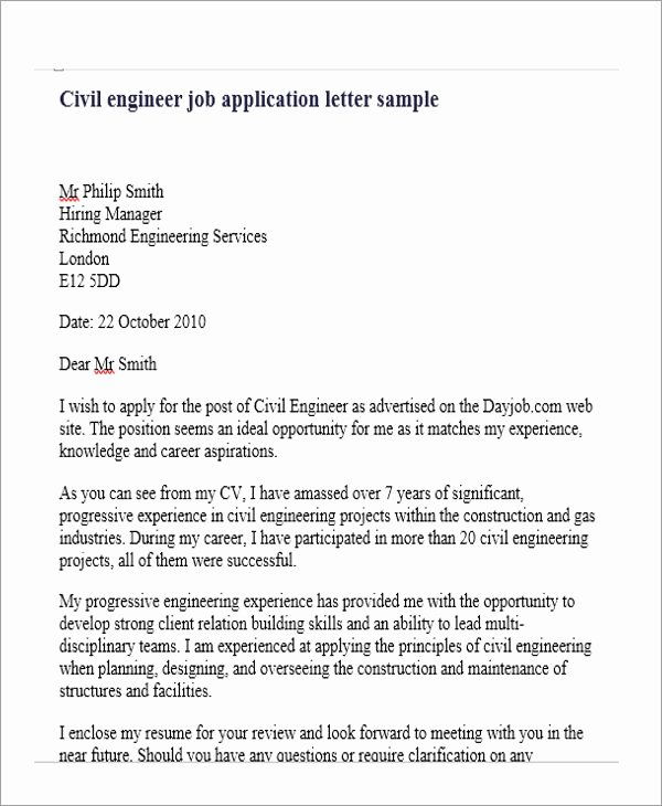 Engineering Cover Letter format Inspirational Job Application Letter for Engineer 11 Free Word Pdf
