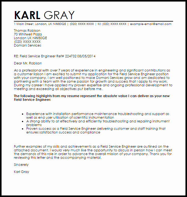 Engineering Cover Letter format Lovely Field Service Engineer Cover Letter Sample