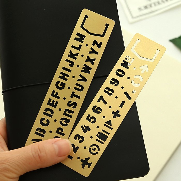 Engraving Templates Letters Elegant Vintage Copper Brass Engraving Ruler with Gorgeous