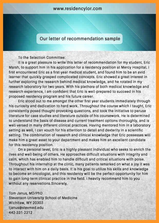Eras Letter Of Recommendation Elegant [sample Letter Re Mendation for Residency Application