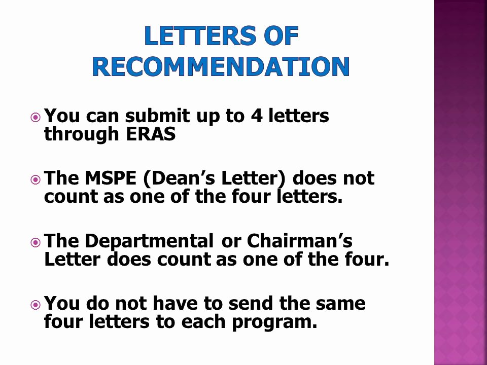 Eras Letter Of Recommendation Sample Fresh Residency Application Ppt