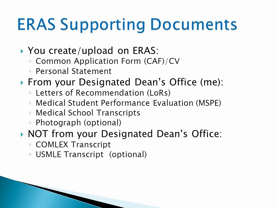 Eras Letter Of Recommendation Sample Fresh the Residency Application Process Ppt Video Online