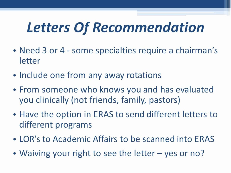 Eras Letter Of Recommendation Sample Luxury Residency Application and Match Process Ppt Video Online