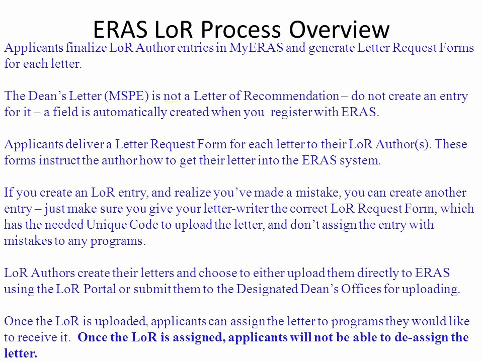 Eras Letter Of Recommendation Sample Unique Eras Electronic Residency Application Service Ppt
