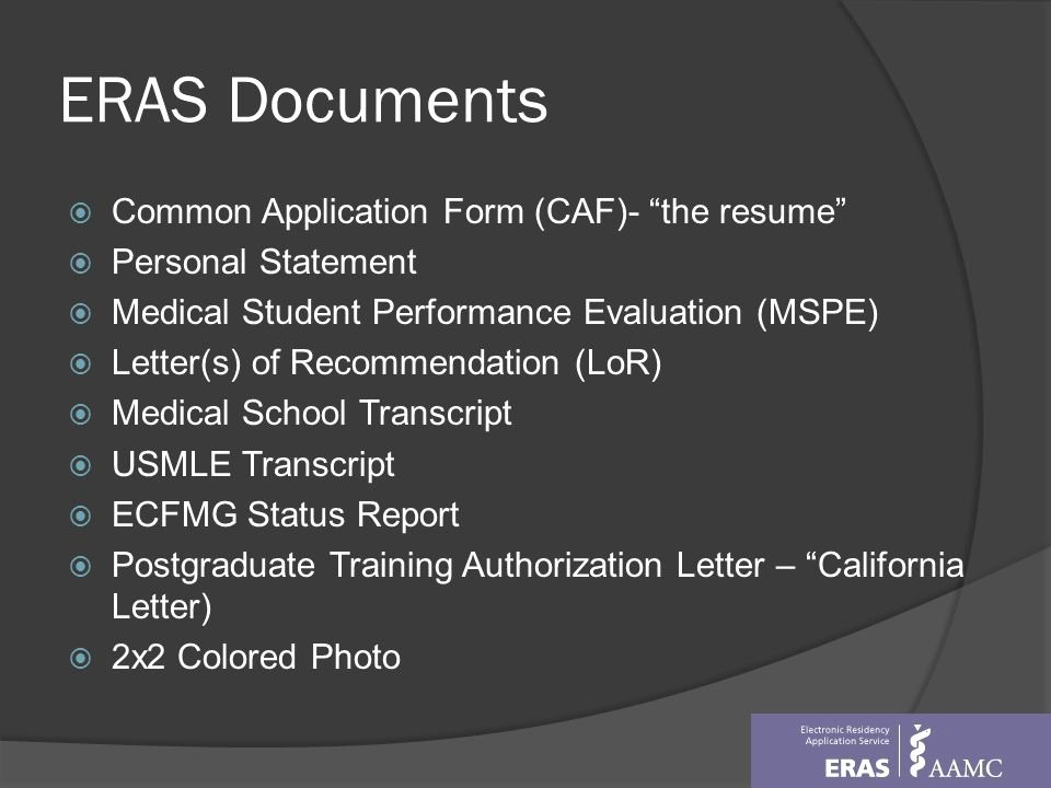Eras Letter Of Recommendation Unique Overview Of Residency Matching Program Ppt