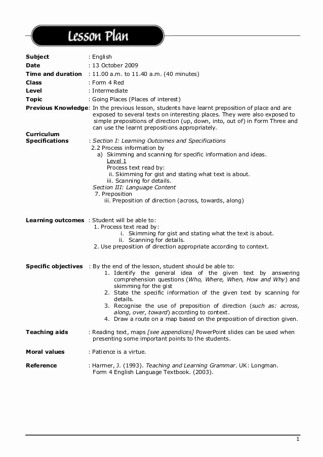 Esl Lesson Plan Template Elegant Lesson Plan English 2