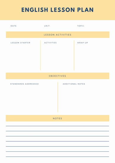 Esl Lesson Plan Template Lovely Customize 1 304 Lesson Plan Templates Online Canva