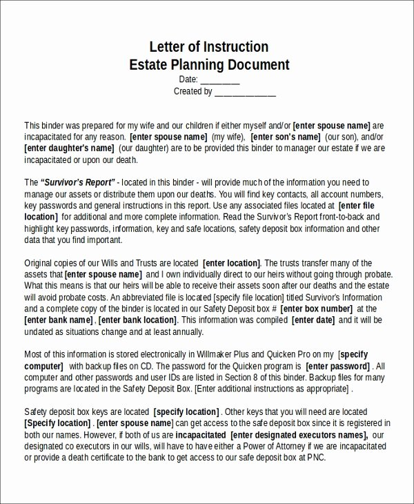 Estate Planning Letter Of Instruction Template Beautiful 13 Sample Letter Of Instruction Templates Pdf Doc