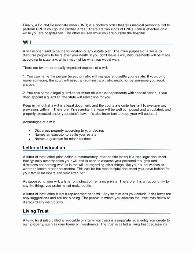 Estate Planning Letter Of Instruction Template Fresh Important Estate Planning Documents