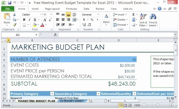 Event Marketing Plan Template Inspirational Free Meeting event Bud Template for Excel 2013