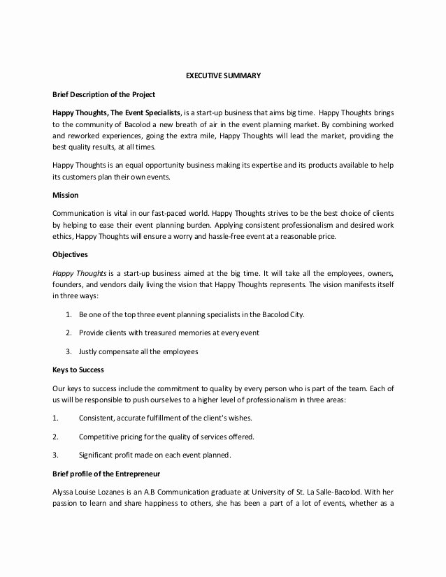 Event Planning Business Plan Template Beautiful An events organizing Business Plan