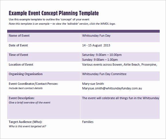 sample event planning