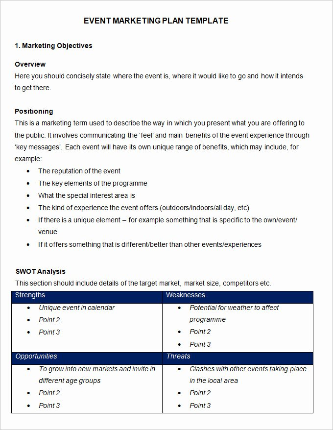 Event Planning Business Plan Template Elegant event Marketing Plan Template 11 Free Word Documents