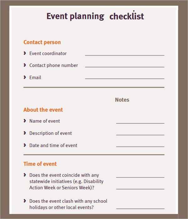Event Planning Business Plan Template New 11 Sample event Planning Checklists – Pdf Word