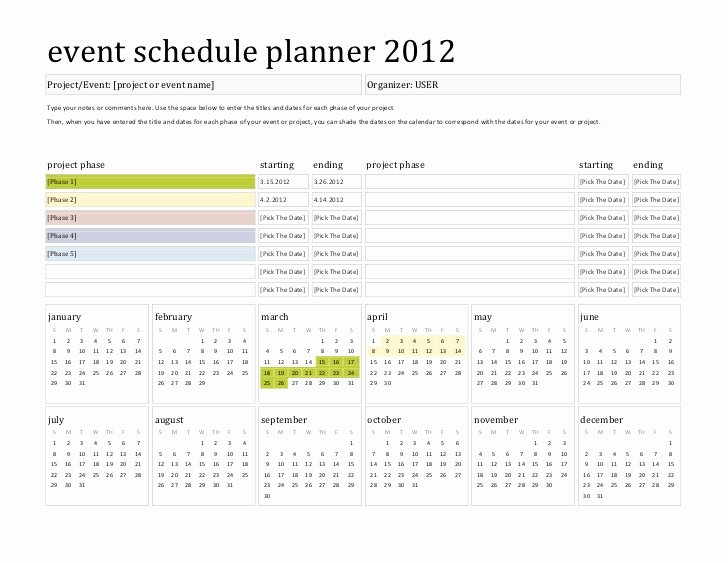 Event Project Plan Template Beautiful Template event Schedule Planner 2012