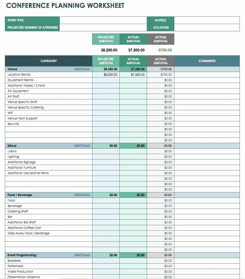 Event Project Plan Template Excel Awesome Free event Bud Templates Smartsheet
