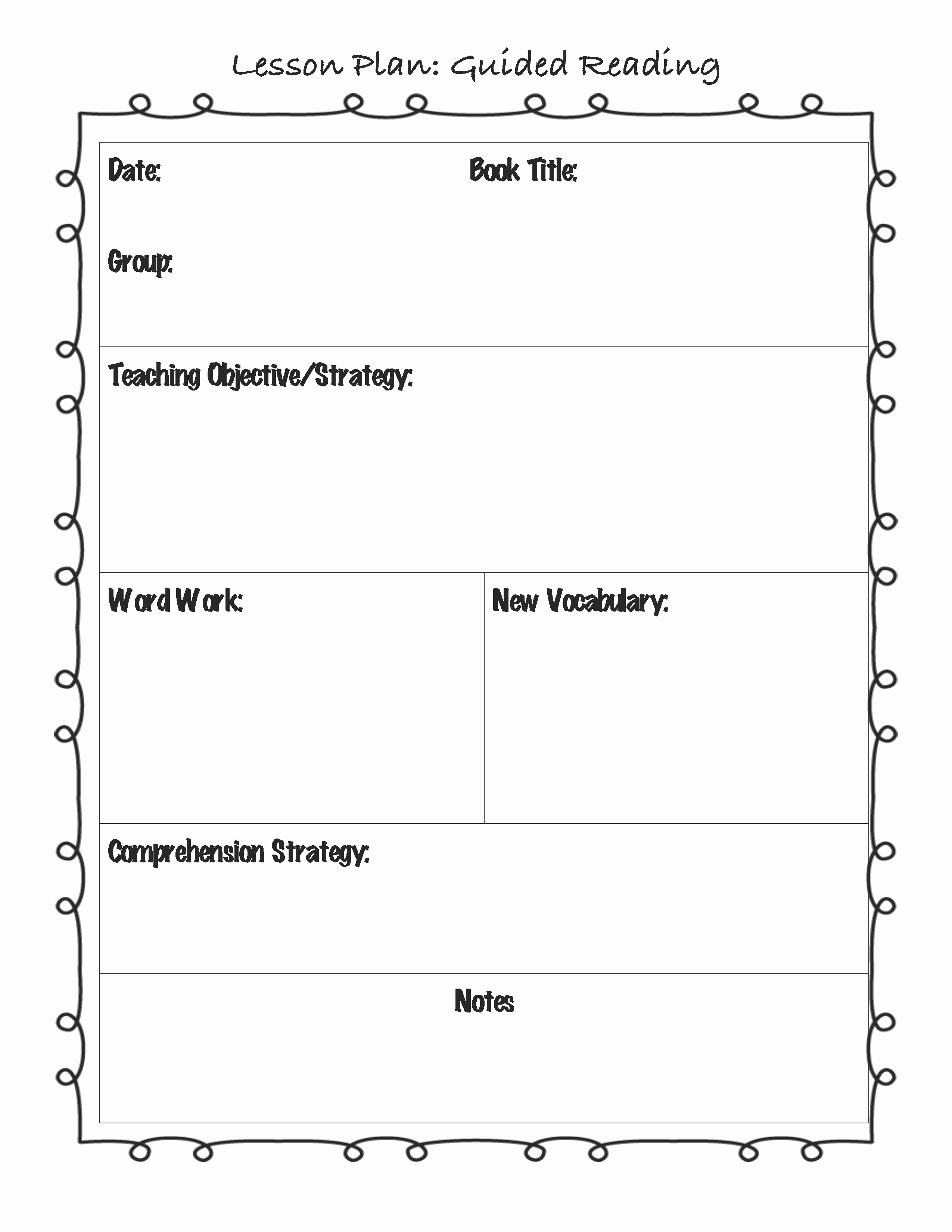 Example Lesson Plan Template Inspirational Guided Reading Lesson Plan Template