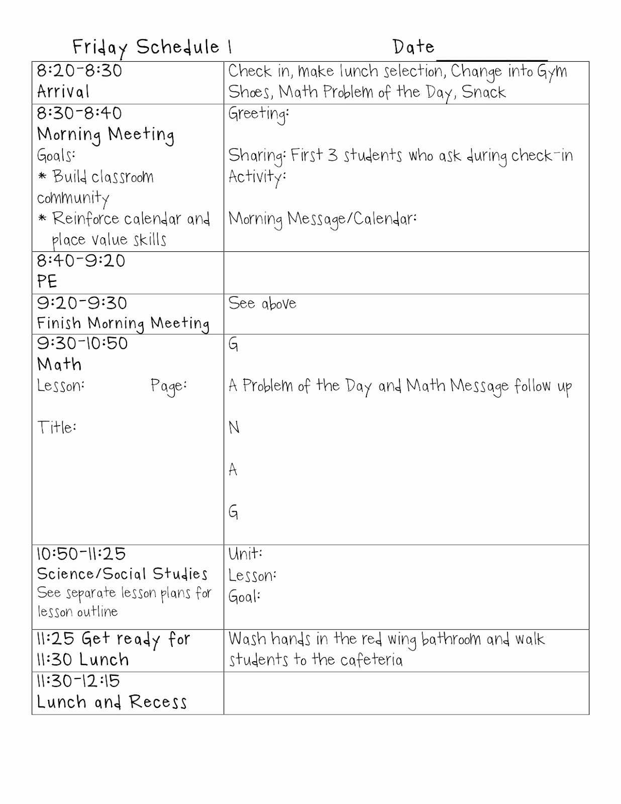Example Lesson Plan Template New Writing Standard Driven Lesson Plans Hippo Hooray for