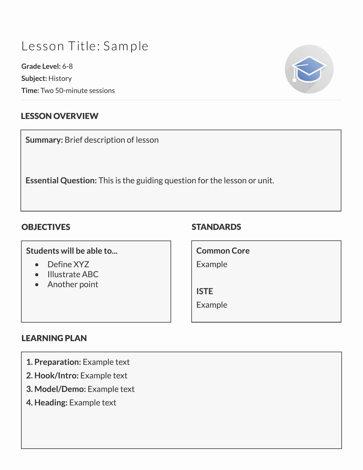 Example Lesson Plan Template Unique 5 Free Lesson Plan Templates & Examples Lucidpress