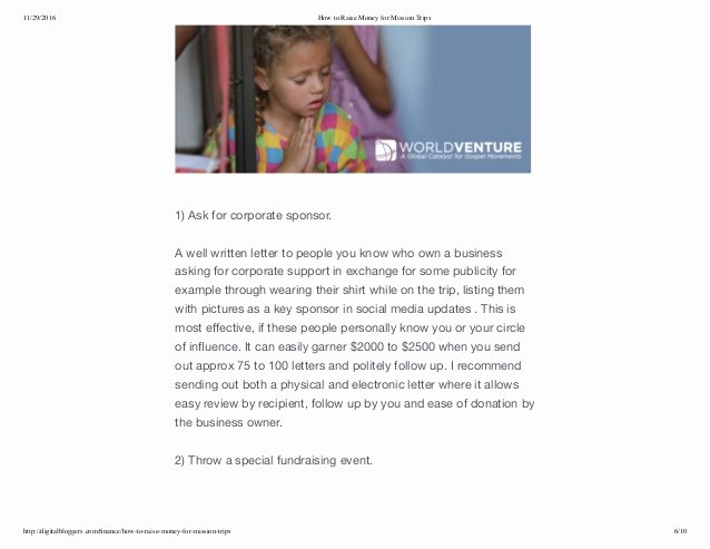 Examples Of Mission Trip Fundraising Letters Unique How to Raise Money for Mission Trips