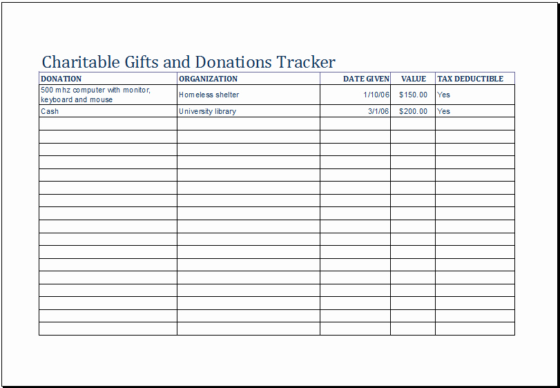Excel Donation List Template Elegant Charitable Gifts and Donations Tracker Template