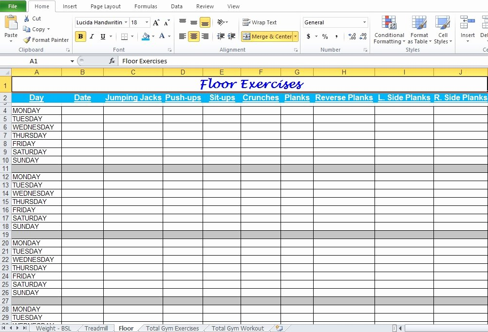 Excel Floor Plan Template Luxury Gym Workout Plan Spreadsheet for Excel Excel Tmp