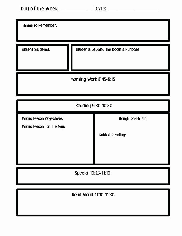 Excel Lesson Plan Template Awesome Printable Lesson Plan Template Excel Blank Weekly Guided