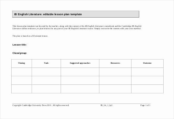 Excel Lesson Plan Template Beautiful 59 Lesson Plan Templates Pdf Doc Excel