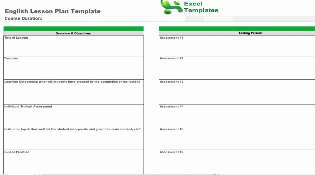 Excel Lesson Plan Template Inspirational English Lesson Plan Template