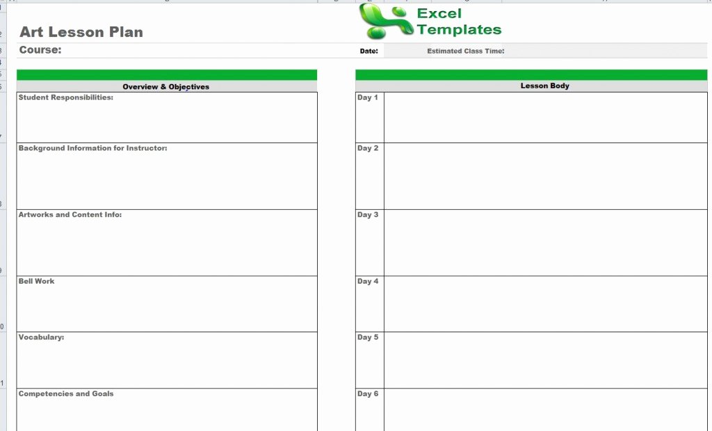 Excel Lesson Plan Template Luxury Art Lesson Plan Template