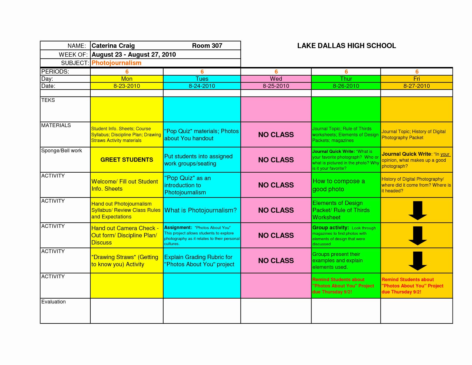 Excel Lesson Plan Template Unique Best S Of Excel Lesson Plan Template Esl Lesson
