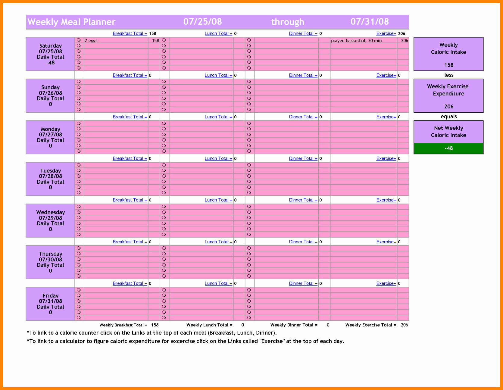 Excel Meal Plan Template Luxury 18 Excel Meal Plan Template